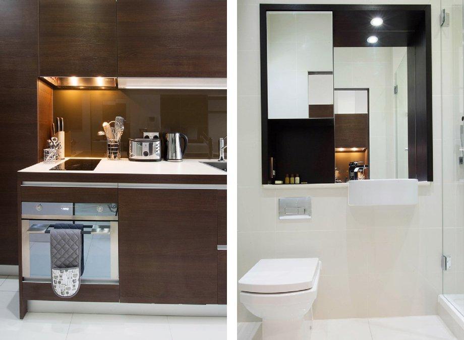 фото квартиры-студии: кухня и ванная