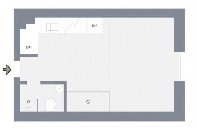 Планировка  2-х этажной квартиры-студии