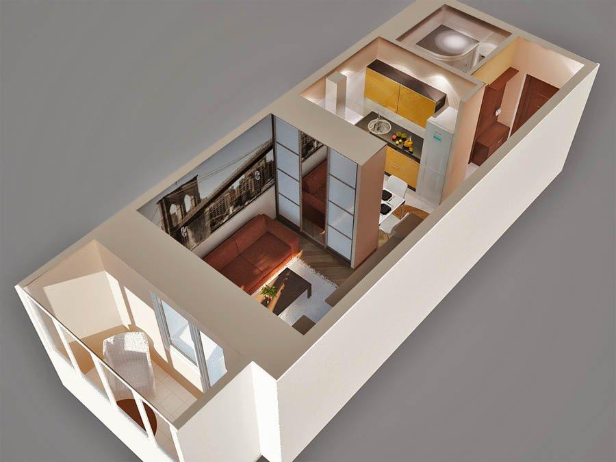 Дизайн интерьера квартиры студии 30м2