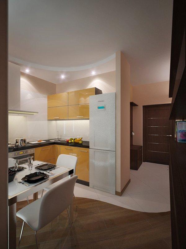 фото квартиры-студии: кухня, вид с комнаты