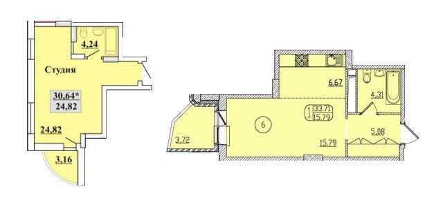 планировки студий 31, 32, 33 кв метров