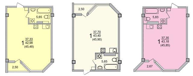 планировки студий 41-50 метров