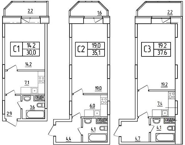 планировки студий 31-40 метров